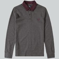 2624b279f Fred Perry Henley Collar Pique Polo Shirt - Graphite Marl XL | eBay