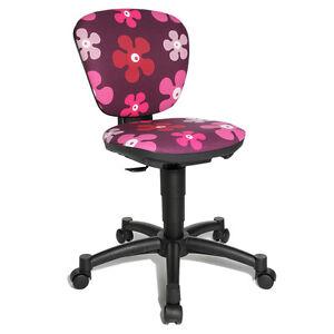 Schreibtischstuhl kinder lila  Schreibtischstuhl Kinder-Drehstuhl Topstar Ergo Kid 15 lila Blumen ...