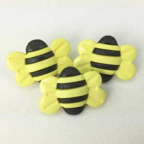 3 x big novelty bumble bee buttons 25mm x 18mm yellow//black shank on back*
