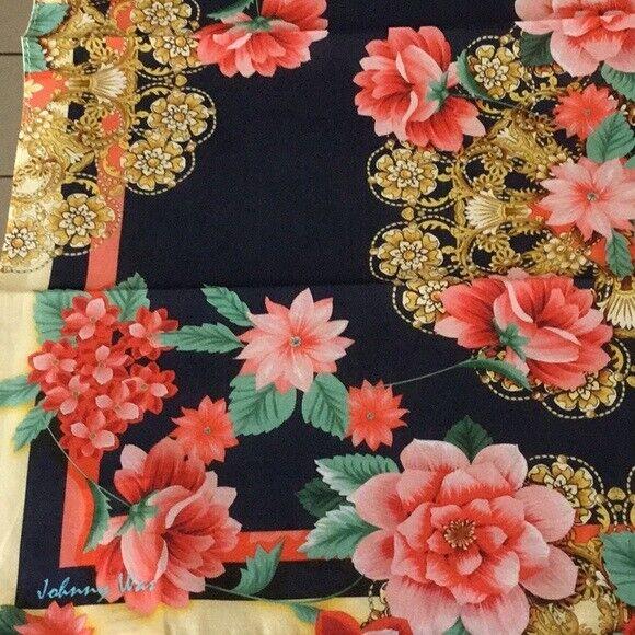 NIP Johnny Was Floral Print Elaine 100% Cotton Bandana Scarf 22X22