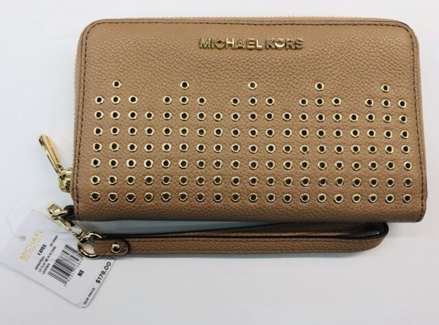 8744ae81c07739 Michael Kors Hayes DK KHAKI Leather Large Flat Phone Case/Wallet/Wristlet