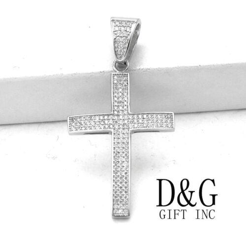 DG Men/'s 925 Sterling-Silver,CROSS Iced-Out CZ Eternity.Charm Pendant,Unisex.BOX