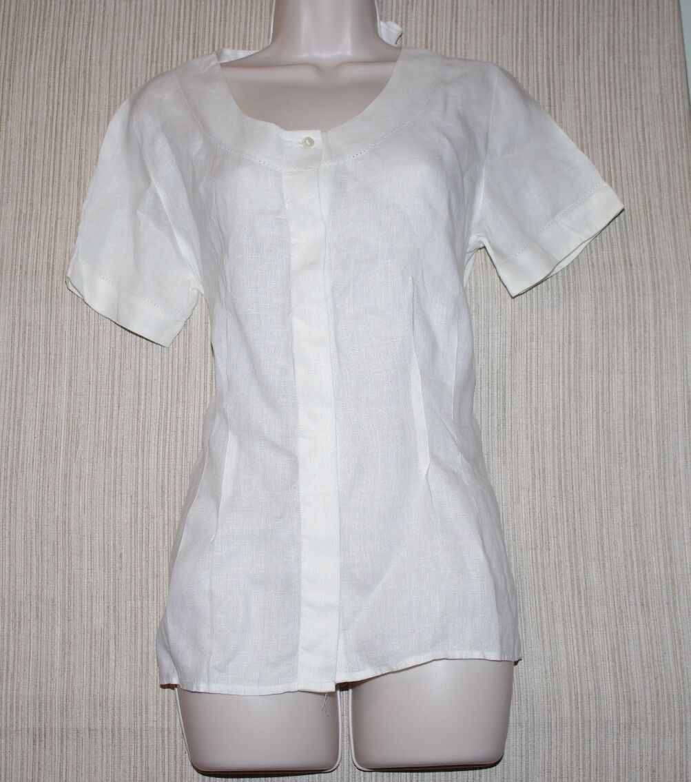 W By Worth Linen Off Weiß Short Sleeve Blouse damen Top Größe 4