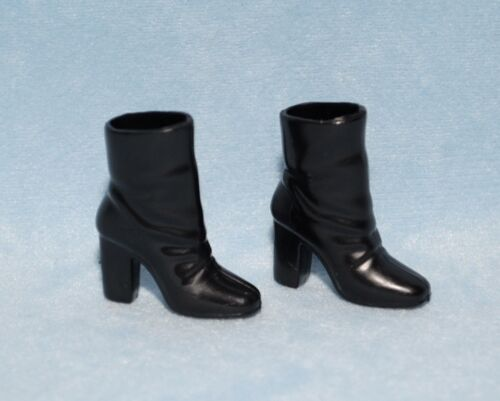 Dress Casual Jet Black High Heel Boots Genuine BARBIE Shoes ULTRA COOL