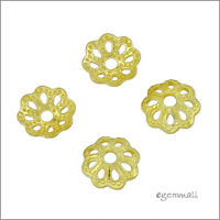 12x 18kt Gold Over Sterling Silver Daisy Flower Bead Cap 6mm 97032
