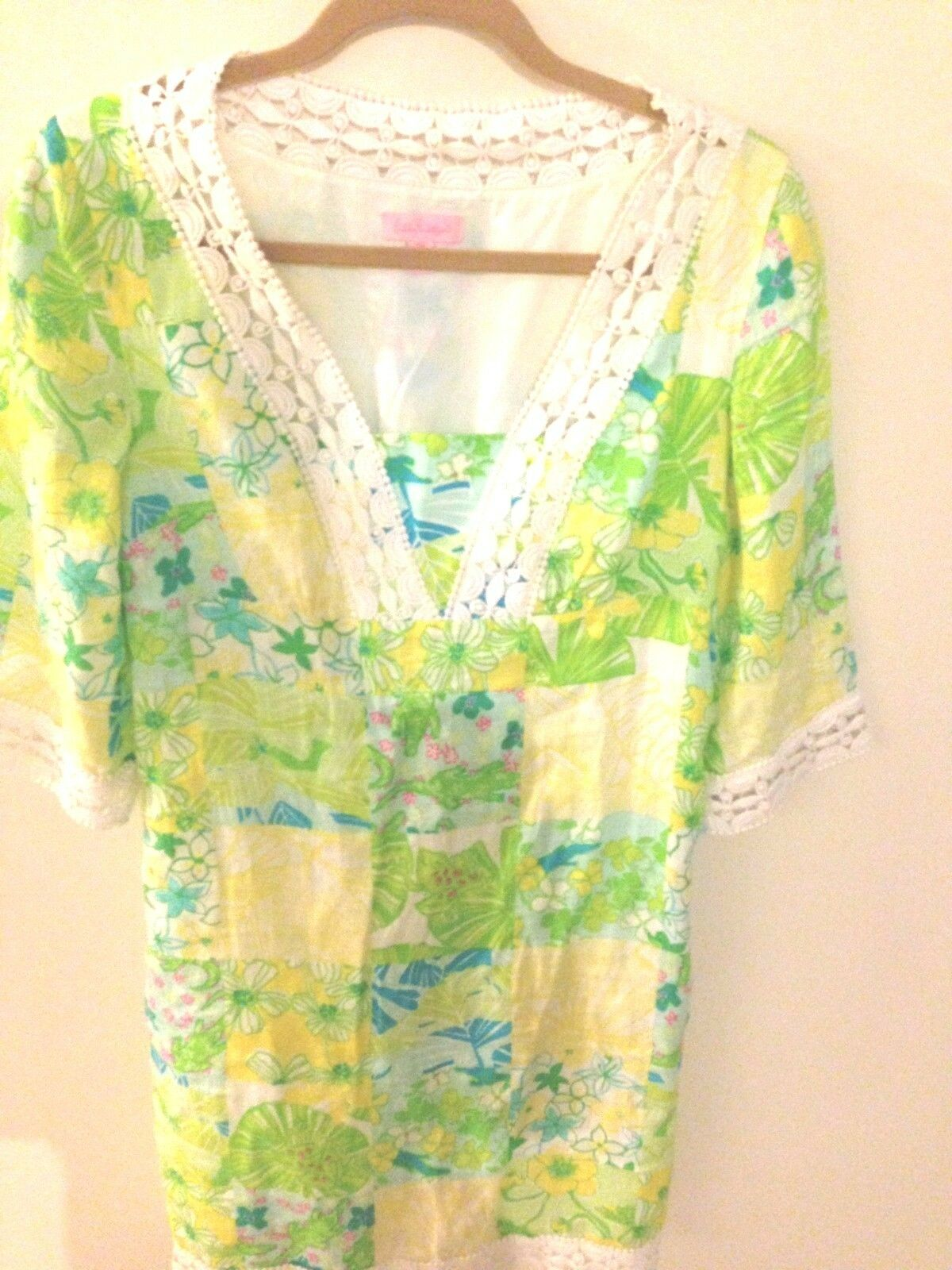LILLY PULITZER Sherman Linen Gator Alley Grün Caftan Tunic Shift Dress XS