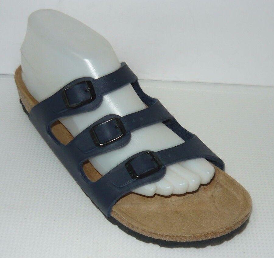 Birkenstock 3 Strap Blau Leder Sandales Größe L8, M7