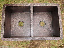 NEW Double copper kitchen sink / Rustic Patina / IMMEDIATE SHIPPING