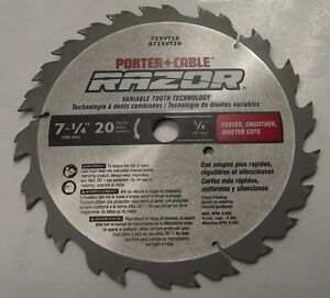 Porter cable razor 725vt20 7 14 x 20 carbide circular saw blade usa image is loading porter cable razor 725vt20 7 1 4 x greentooth Choice Image