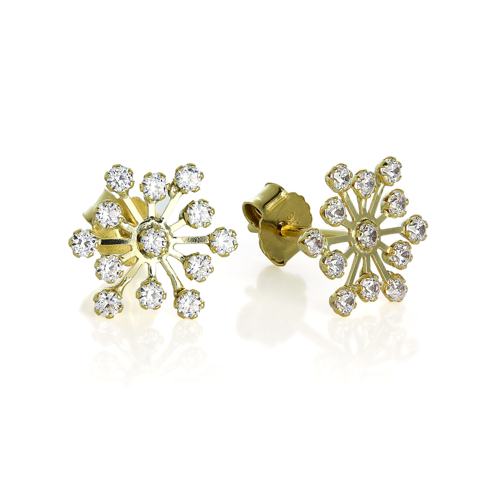 9ct gold & CZ Clear Crystal Winter Snowflake Stud Earrings