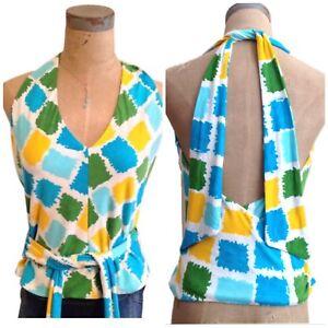 Milly-of-New-York-Medium-M-Halter-Top-Geometric-Pattern-Blue-Green-Yellow-White
