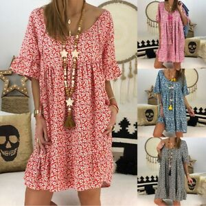 Women-Boho-Floral-Casual-Baggy-Tunic-Dress-Summer-Loose-Beach-Sundress-Plus-Size
