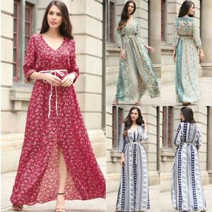 Women-Floral-Printed-Boho-Long-Sleeve-Maxi-Dress-With-Belt-Evening-Party-DressCA