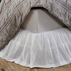 QUINN CREME Twin Bed Skirt Dust Ruffle Gossamer Lace Cottage Country Chic