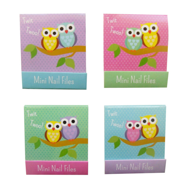 Pack of 4 - Mini Nail File Books - Coloured -Twit Twoo Owl Design - Party Bags