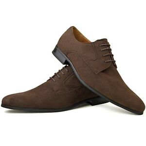mens new brown faux leather designer fashion smart dress