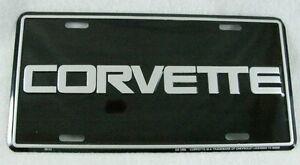 Corvette Black Silver Aluminum License Plate Car Auto Tag Vette Chevrolet GM