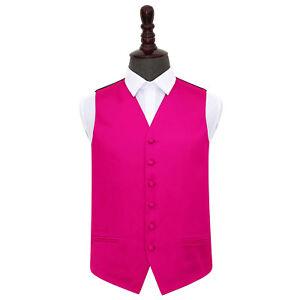 DQT-Satin-Plain-Solid-Hot-Pink-Formal-Tuxedo-Mens-Wedding-Waistcoat-S-5XL