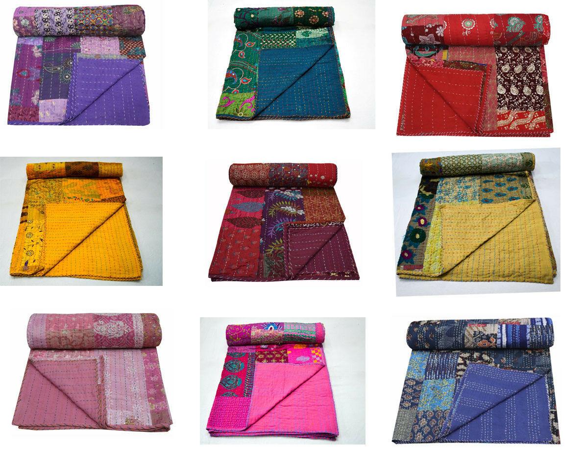 Indian Patchwork Reversible Kantha Quilt Bedding Blanket Handmade King Coverlet