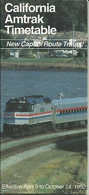 1992 through October 24 AMTRAK National Train Timetables April 5 1992