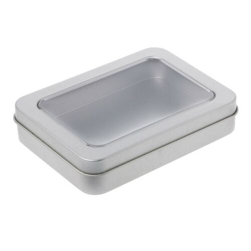 Clear Window Top Metal Tin Can Box Silver Blank Storage Case Crafts Survival Kit