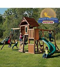 Kidkraft Lewiston Retreat Wooden Play Set With 2 Slides And 3 Swings