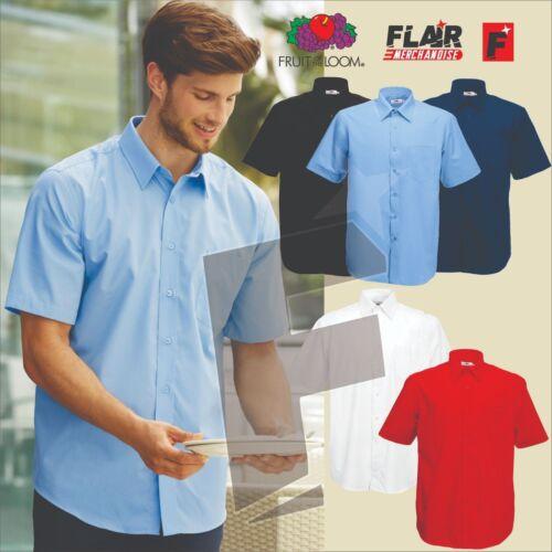 5-Colour Fruit Of The Loom Men/'s Short Sleeve Poplin Shirt