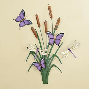 Flower Metal Wall Art purple butterfly dragonfly cattail flower metal wall art hanging