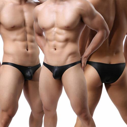 Men/'s Panties Underwear Thongs G-string PU Leather Jockstrap Briefs Underpants