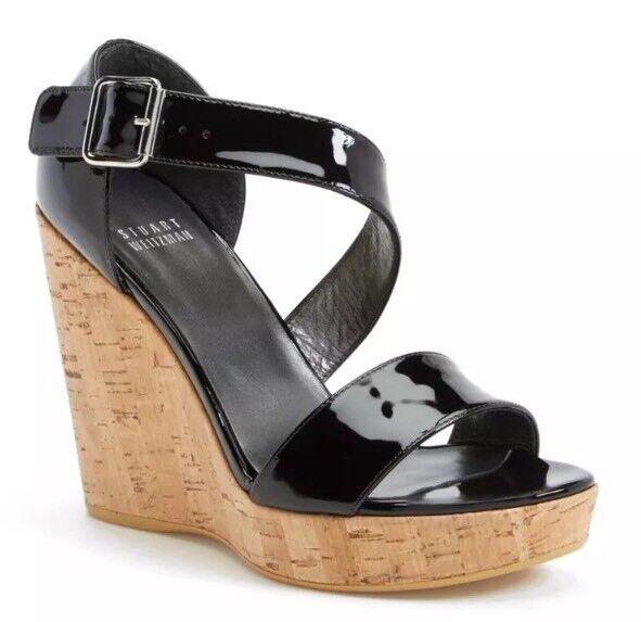 Stuart Stuart Stuart Weitzman Donna  Oneliner Patent Leather Wedge Sandals 6755 Dimensione 10 M 1247c1