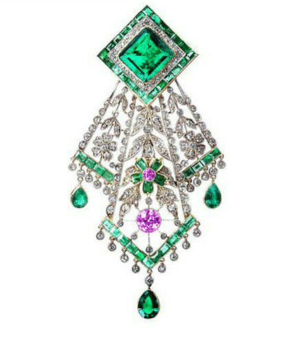 ESTATE REPRO 4.16ct ANTIQUE ROSE CUT DIAMOND SILVER EMERALD RUBY VINTAGE PENDANT