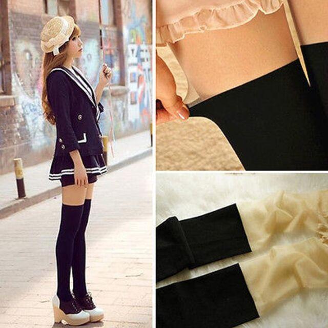 Lady Girl Sweet Trendy False High Socks Pantyhose Stockings New