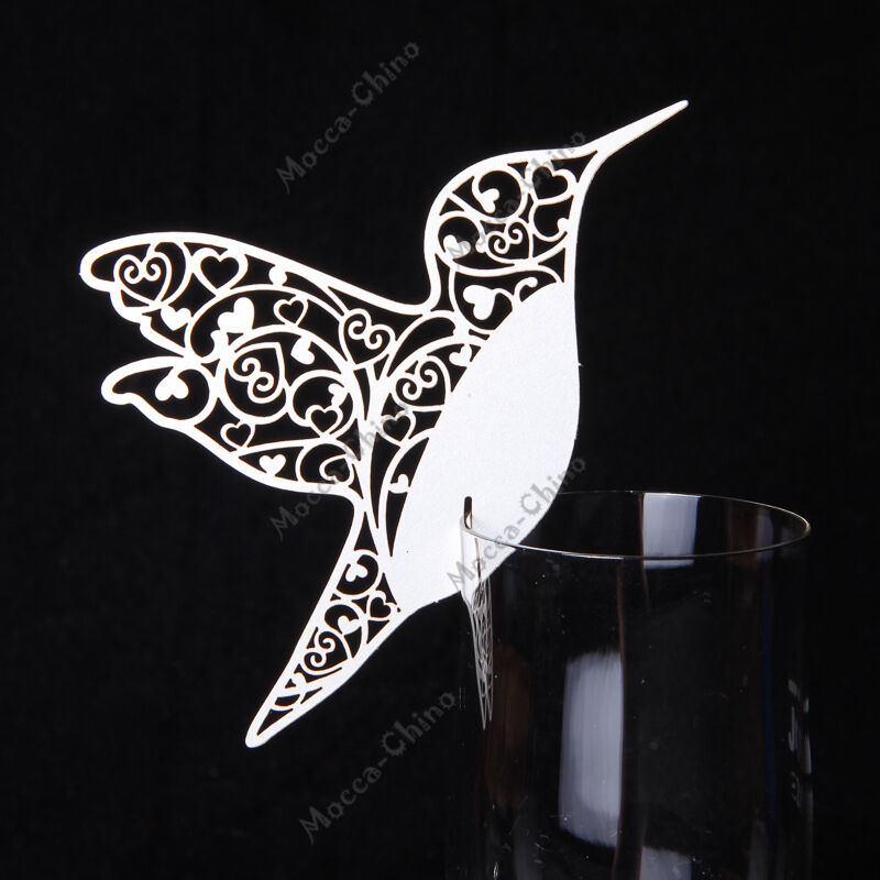 160 Laser Cut KOLIBRI Vogel Tischkarten Platzkarten Hochzeit Deko PERLMUTT WEIß     Glücklicher Startpunkt    Spielzeug mit kindlichen Herzen herstellen