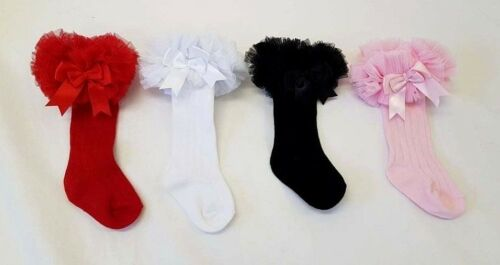 18 MONTH RED PINK BLACK Spanish Baby Girls Tutu Frill Knee Socks with Bows NB