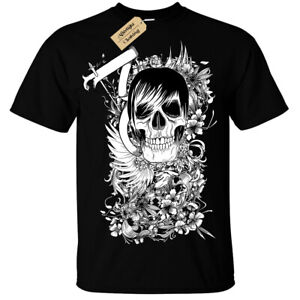 Skater-Skull-Punk-Emo-Skeleton-Floral-T-Shirt-Unisex-Mens