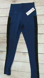 POP-FIT-Women-039-s-Athletic-Workout-Leggings-with-Pockets-3155-26-Blue-Black-NWT