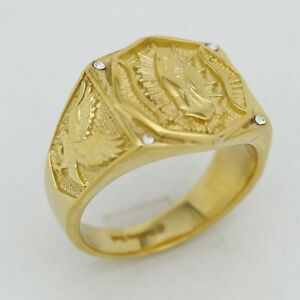 DG Men/'s Gold Stainless Steel,CZ Ring 8.9 10 11 12 13 Box