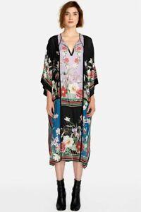 Johnny-Was-Garden-Kimono-Silk-Dress-amp-Slip-Floral-Print-3-4-Sleeve-C35418-NEW