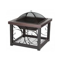 Outdoor Fire Pit Cocktail Table Patio Furniture Backyard Square Steel Firepits
