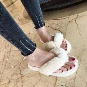 Women/'s Open Toe Slippers Faux Fur Warm Soft Home Flat Plush Indoor Flip Flop