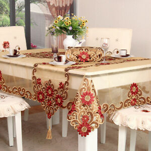 Lace Table Cloth Wedding Party Table Cover Embroidered Flower Dinning Tablecloth