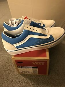 8436773c38 New Vans Old Skool French Blue True White Leather canvas New Womens ...