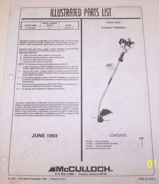 mcculloch strimmer repair manual