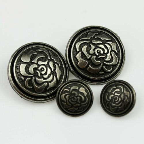 New 12PCS Bronze Metal Flower Carving Shell Round Shank Sewing Buttons 20 25mm