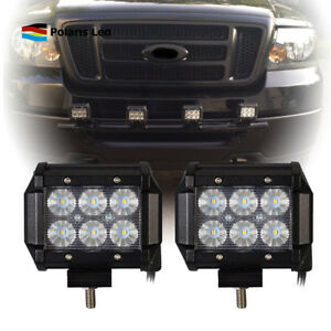 For ford truckcar pair 18w led light bar usa front 4inch flood image is loading for ford truck amp car pair 18w led mozeypictures Images