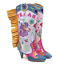 RRP 239.00 IRREGULAR CHOICE BLUE MULTI  BOOTS TEXAS