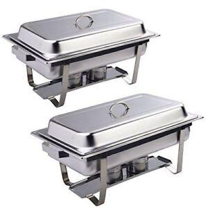 Giantex Rectangular Chafing Dish Stainless Steel Full Size Pack Of 8 Quart