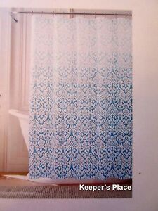 Tommy-Hilfiger-Shower-Curtain-MODERN-DAMASK-OMBRE-Cottage-Chic-Aqua-White-New