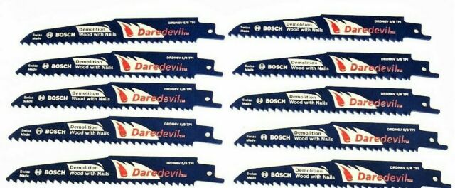 """25 BOSCH DAREDEVIL 6/"""" DEMOLITION RECIPROCATING SAW BLADES 5//8TPI WOOD WITH NAILS"""