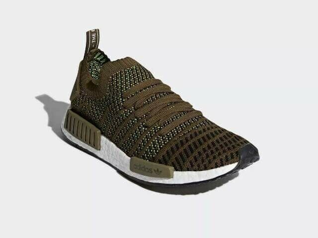 Adidas New NMD_R1 STLT PK Olive Primeknit Men's 9.5 running shoes CQ2389